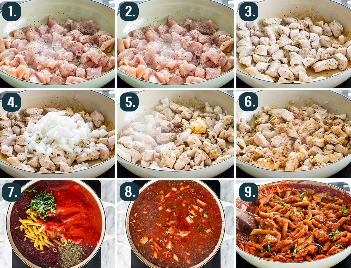 detailed process shots showing how to make penne arrabbiata with chicken