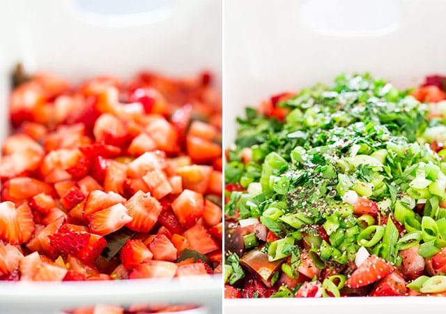 Process shots of strawberry salsa being made