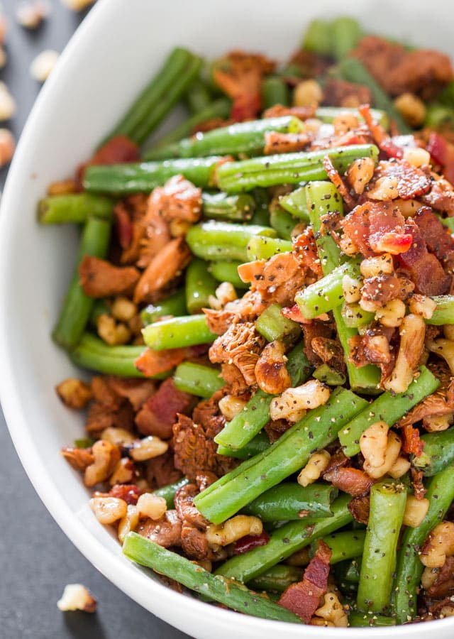 Green Bean and Chanterelle Mushrooms