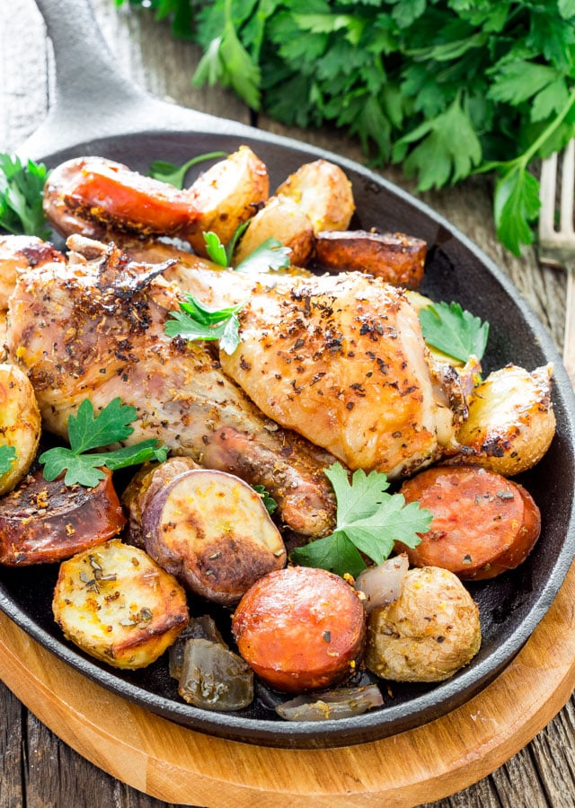 Spanish Chicken with Chorizo and Potatoes on a small skillet