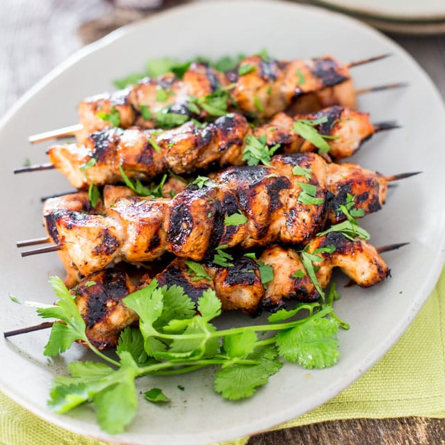 Beer and Honey BBQ Chicken Skewers - Jo Cooks