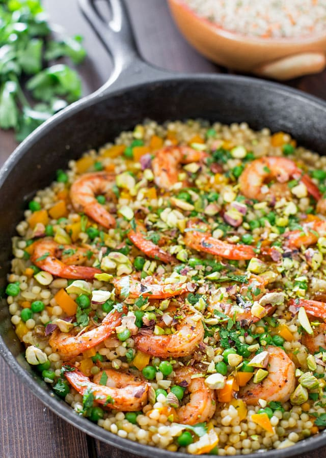 One Pot Couscous with Shrimp and Peas - A simple dish made in 30 minutes from start to finish, featuring everyday ingredients but full of incredible flavor.
