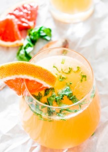 Red Grapefruit and Basil Mimosas