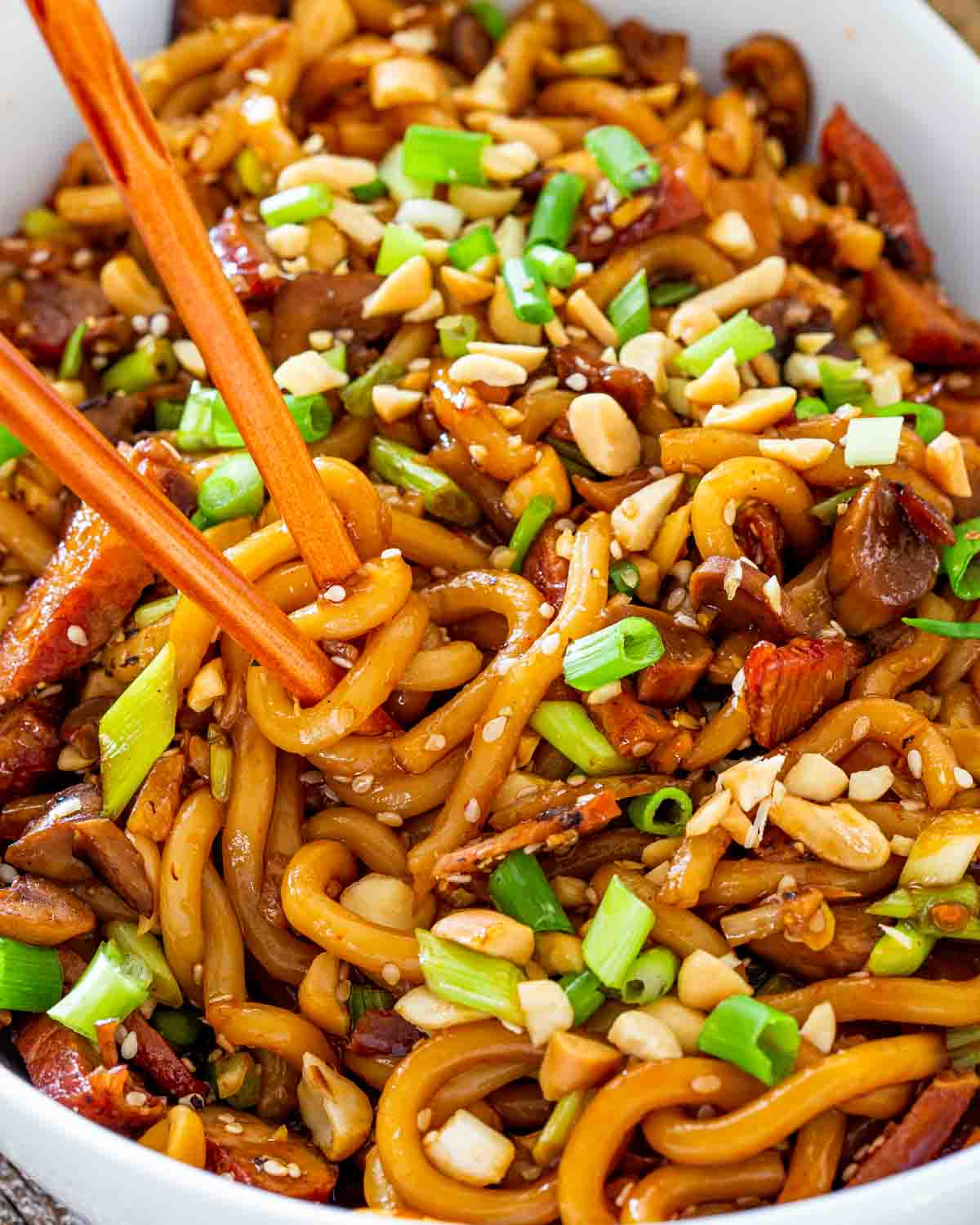 asian style udon noodles with chopsticks and garnished with green onions and peanuts