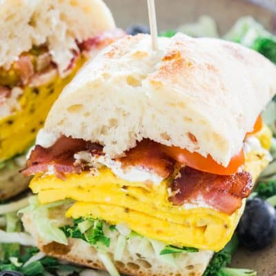 Bacon Omelette Goat Cheese Ciabatta Breakfast Sandwiches
