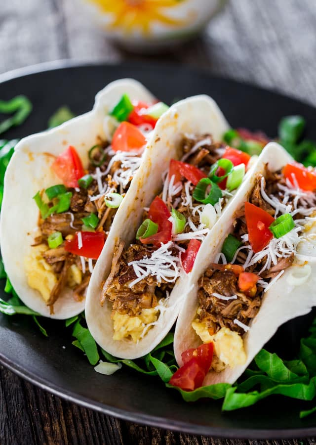 Breakfast Beer Braised Pork Tacos