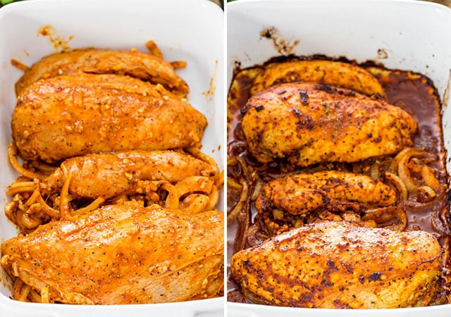 Oven Roasted Chicken Shawarma in a baking dish