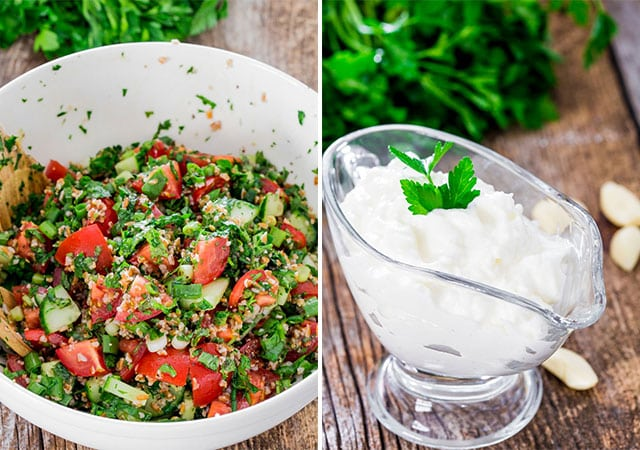 tabbouleh salad in one bowl and garlic sauce in another bowl