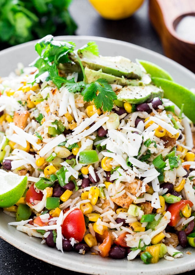 Mexican Chicken and Rice Salad on a platter