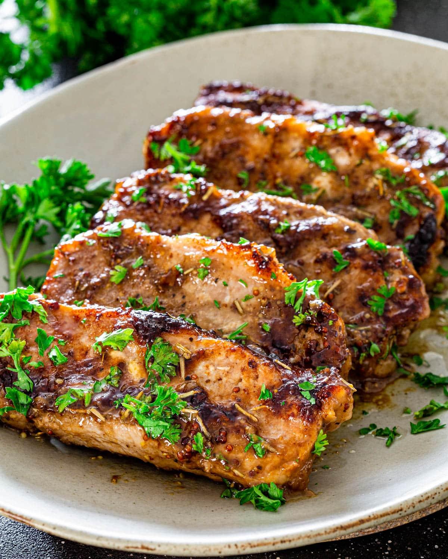 Mustard Balsamic Pork Chops Jo Cooks