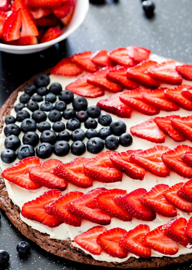 Red White and Blue Brownie Pizza with blueberries and strawberries
