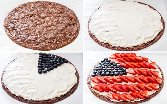 process shots for Red White and Blue Brownie Pizza