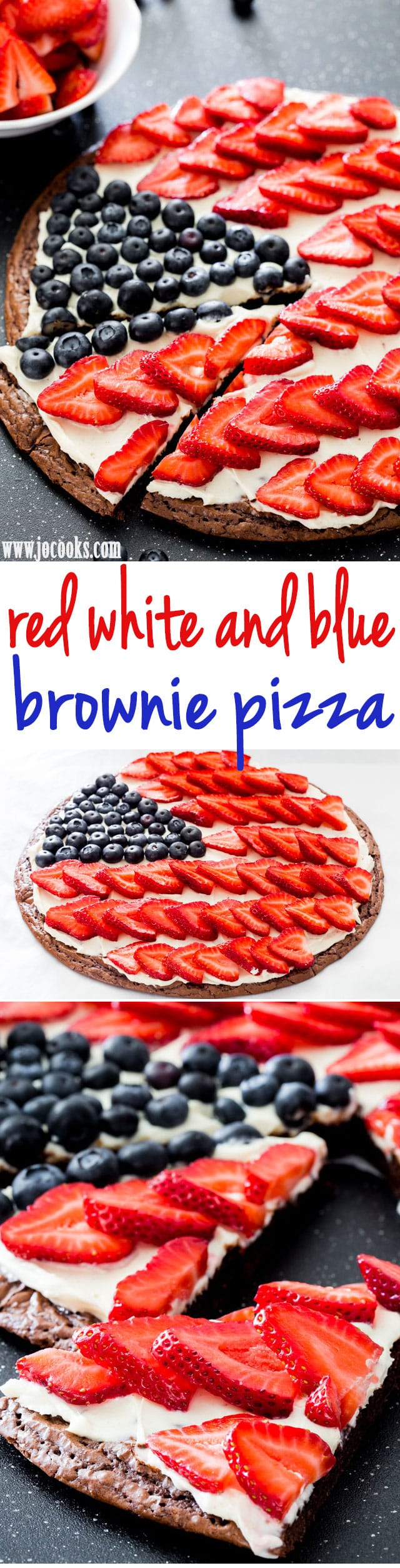 Red White and Blue Brownie Pizza - the perfect dessert for your 4th of July celebration. A delicious brownie crust topped with a cream cheese frosting and loaded with berries! #4thofjulydesserts #redwhiteandblue #browniepizza