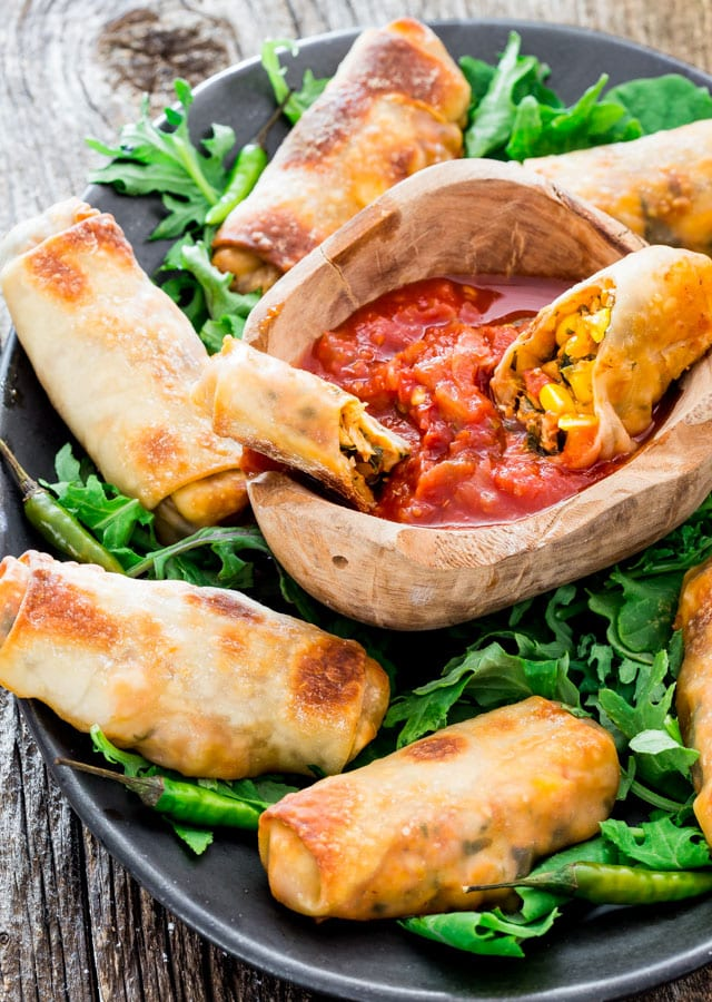 Spicy Baked Mexican Chicken Egg Rolls