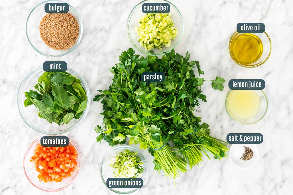 overhead shot of ingredients needed to make tabbouleh salad