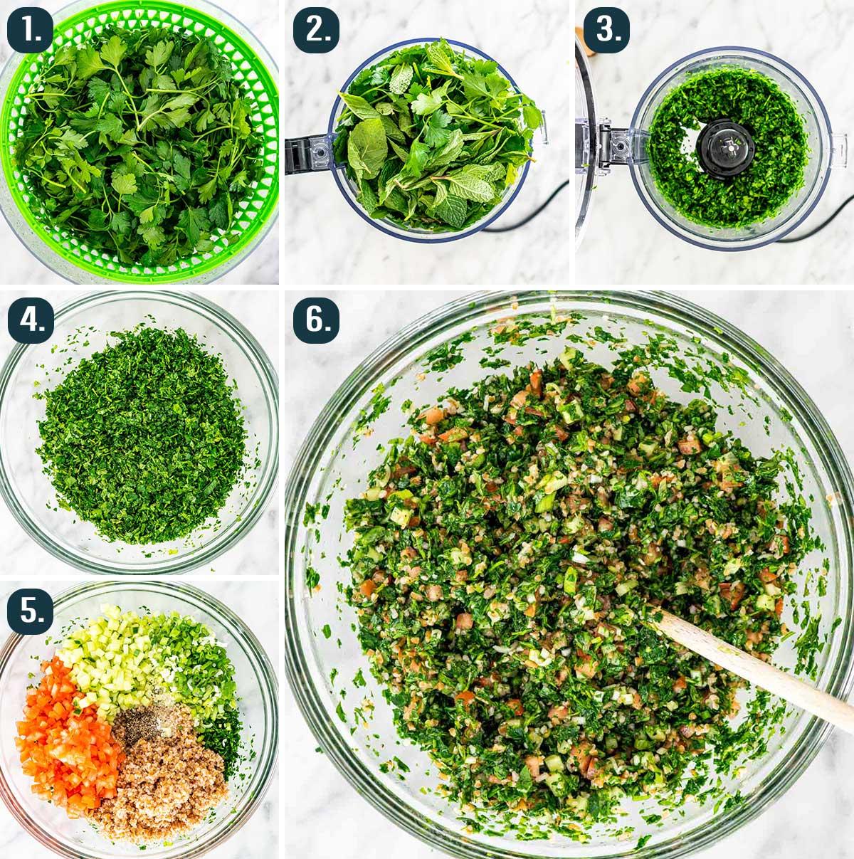process shots showing how to make tabouli salad