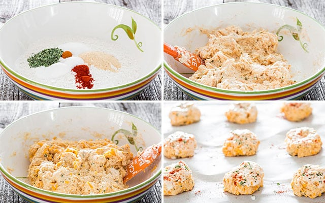 Copycat Red Lobster Cheddar Bay Biscuits process shots