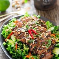 thai steak salad on a plate