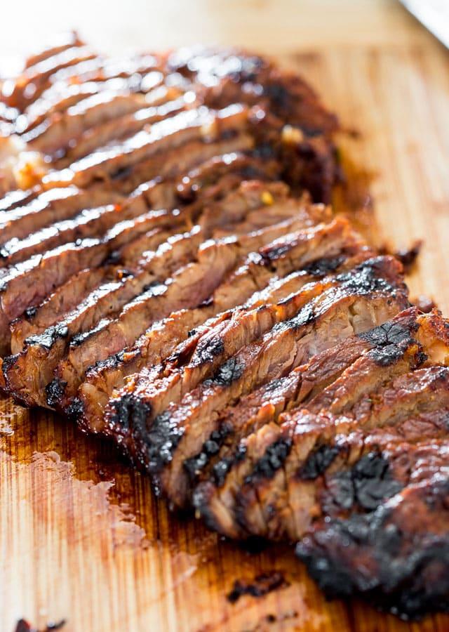 a sirloin steak cut into thin slices on a cutting board