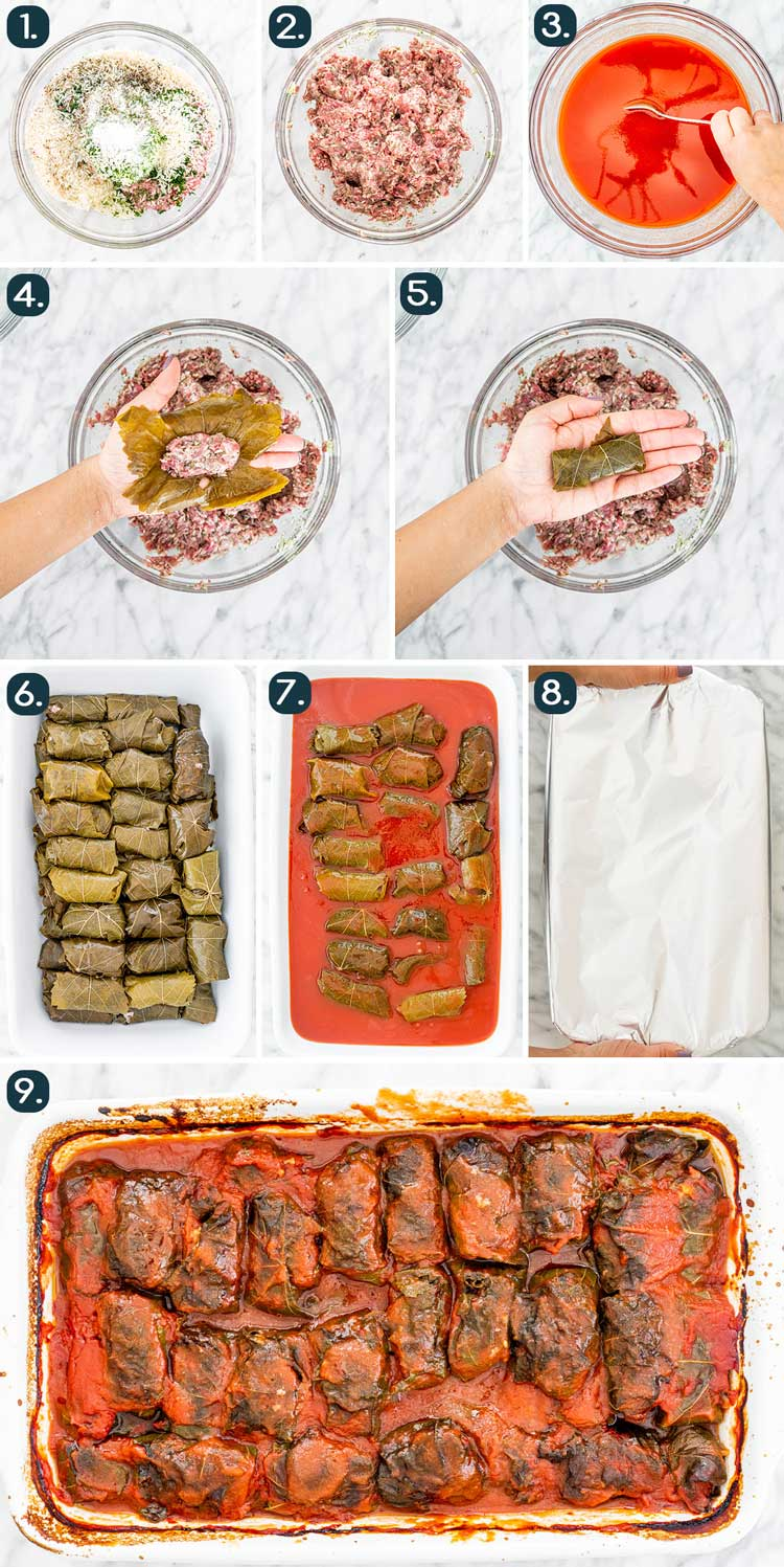 process shots showing how to make stuffed grape leaves