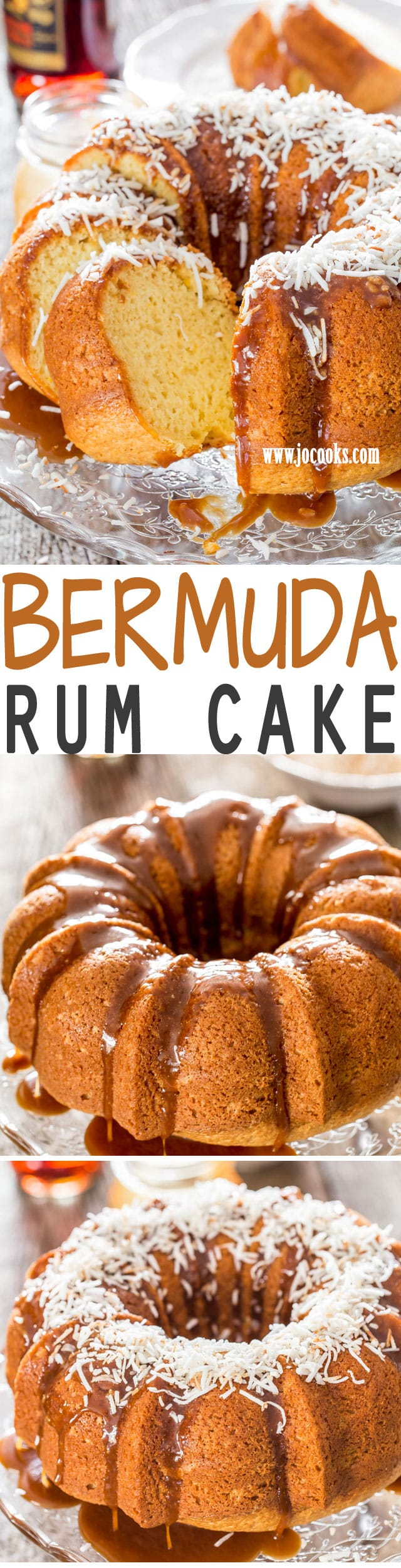 This Bermuda Rum Cake is the ultimate when it comes to boozy cakes and it does not come from a box mix. The best homemade rum cake recipe. This cake is definitely boozy, sweet and citrusy and it's glazed with a delicious butter and dark rum caramel sauce.