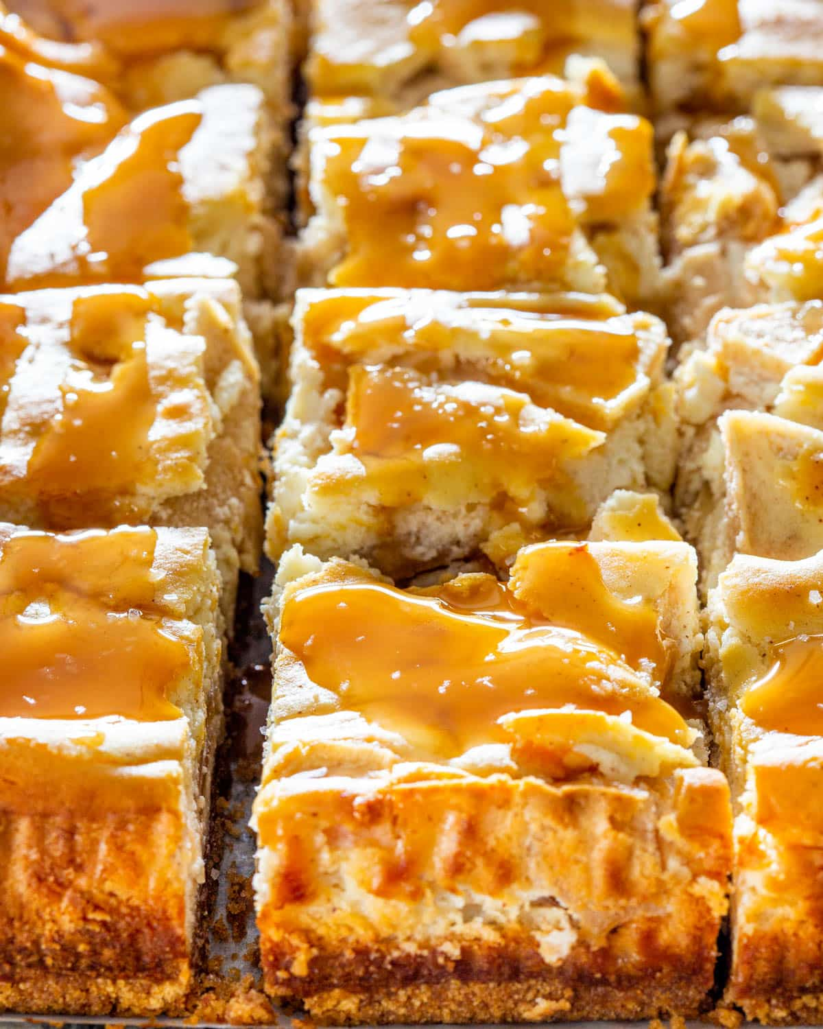 salted caramel apple pie cheesecake cut into squares