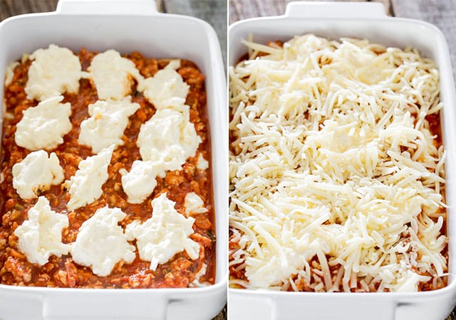 steps for layering cheese on Chicken Lasagna alla Bolognese