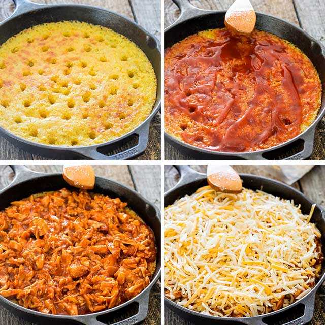 process shots showing how to make chicken tamale pie