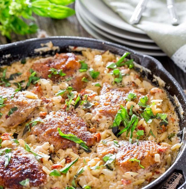 creamy chicken orzo with sundried tomatoes in a skillet