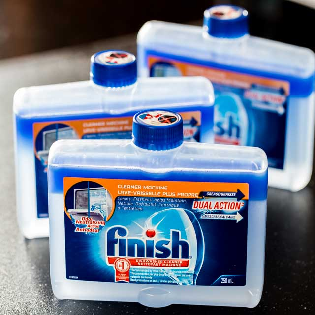 Bottles of Finish® Dishwasher Cleaner