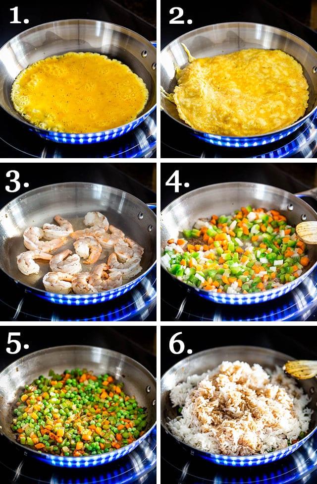 process shots for making shrimp fried rice