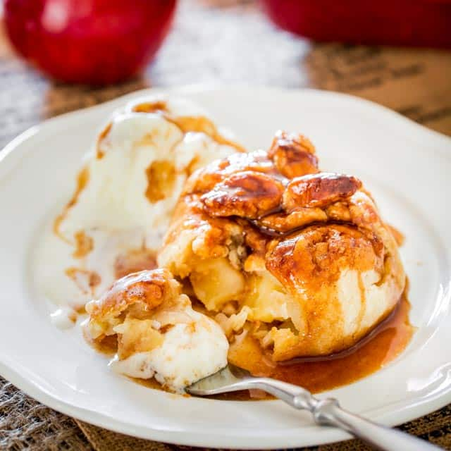 Apple Dumplings with ice cream
