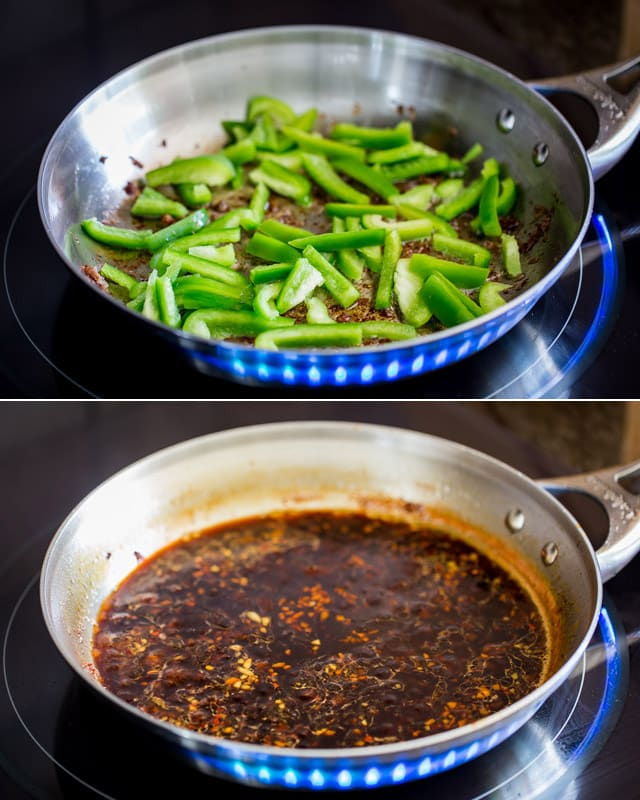 process shots of coking green peppers in a skillet and making mongolian sauce