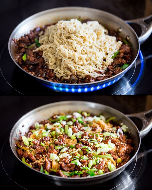 process shots of adding noodles to mongolian beef