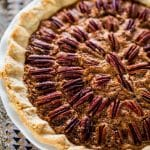 a freshly baked whole bourbon pecan pie