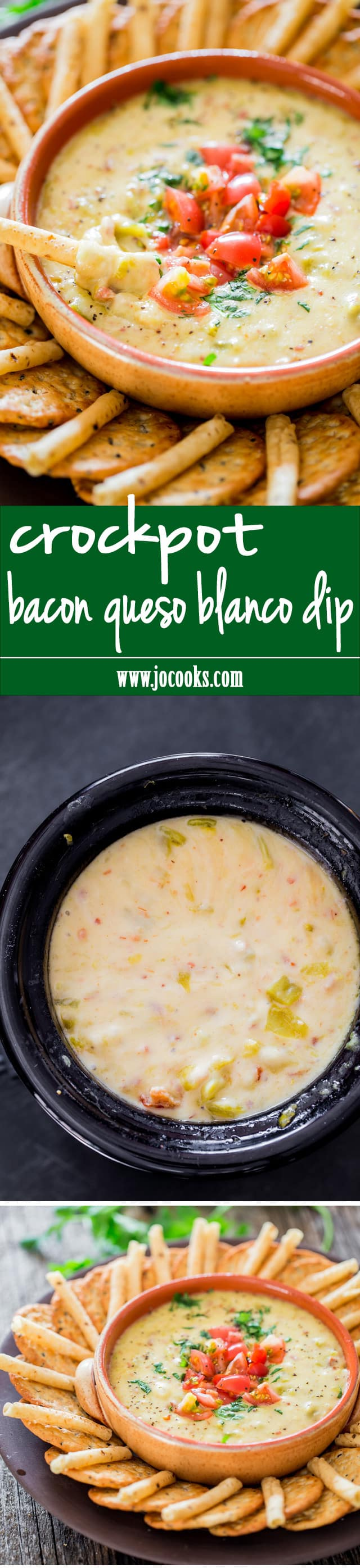 Crockpot Bacon Queso Blanco Dip - super cheesy queso blanco dip with my favorite ingredient; bacon! Perfect snack or appetizer for the holidays.