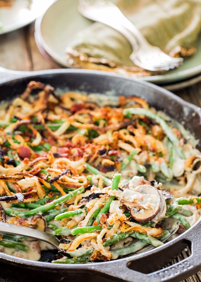 Green Bean Casserole From Scratch in a skillet