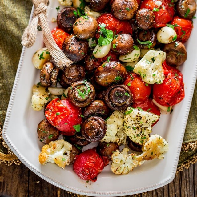 Italian Roasted Mushrooms and Veggies on a white platter