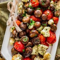 italian roasted mushrooms and veggies on a plate