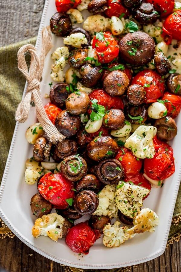 italian roasted mushrooms and veggies on a plate