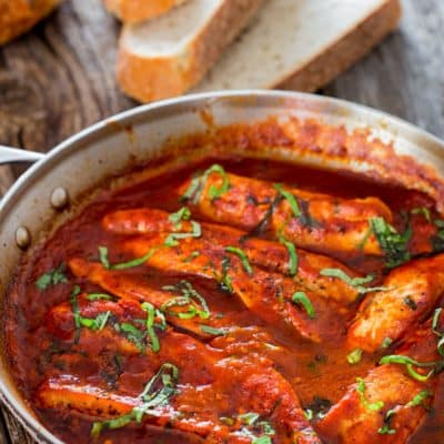 Turkey Breast in Fire Roasted Tomato and Basil Sauce