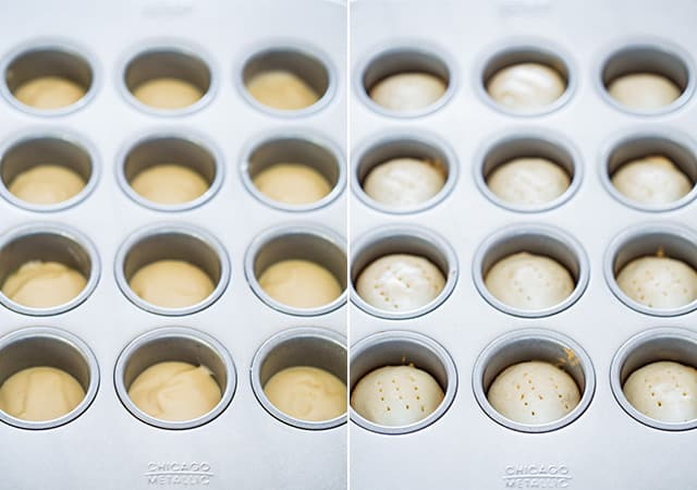 process of making Mini Tiramisu Cheesecakes