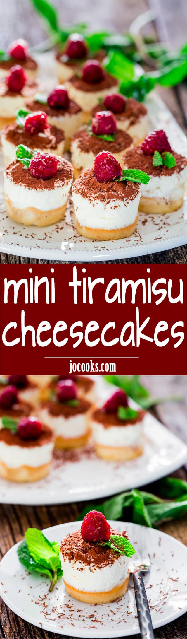 Mini Tiramisu Cheesecakes - mini decadent tiramisu cheesecakes with the classic flavors of the Italian tiramisu. Smooth and creamy, ideal for any occasion! www.jocooks.com #minicheesecake