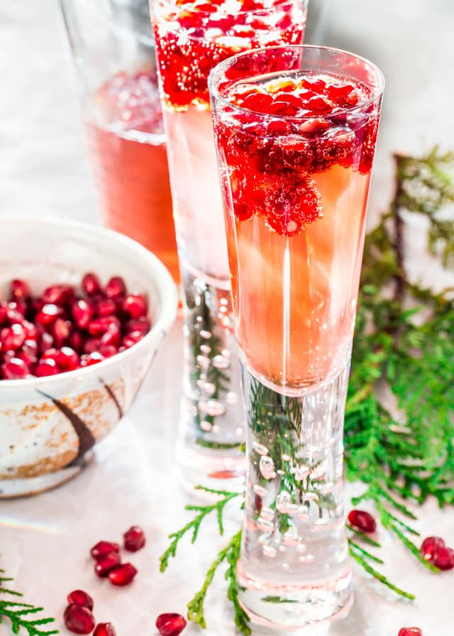 Pomegranate Elderflower Spritzers
