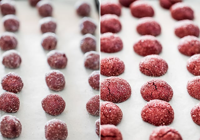 Red Velvet Kiss Cookies on a baking sheet before and after baking