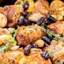 Skillet Braised Greek Chicken Thighs