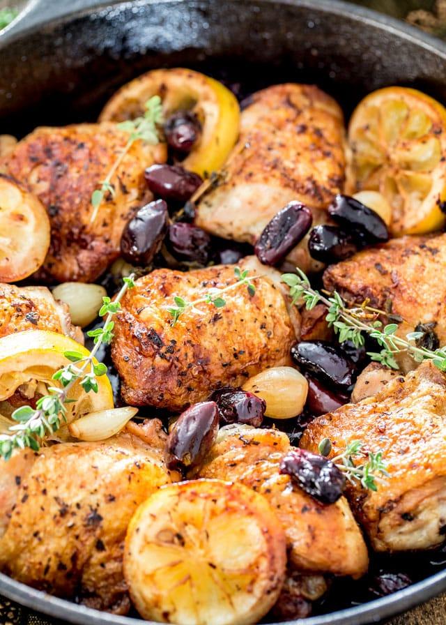 Skillet Braised Greek Chicken Thighs