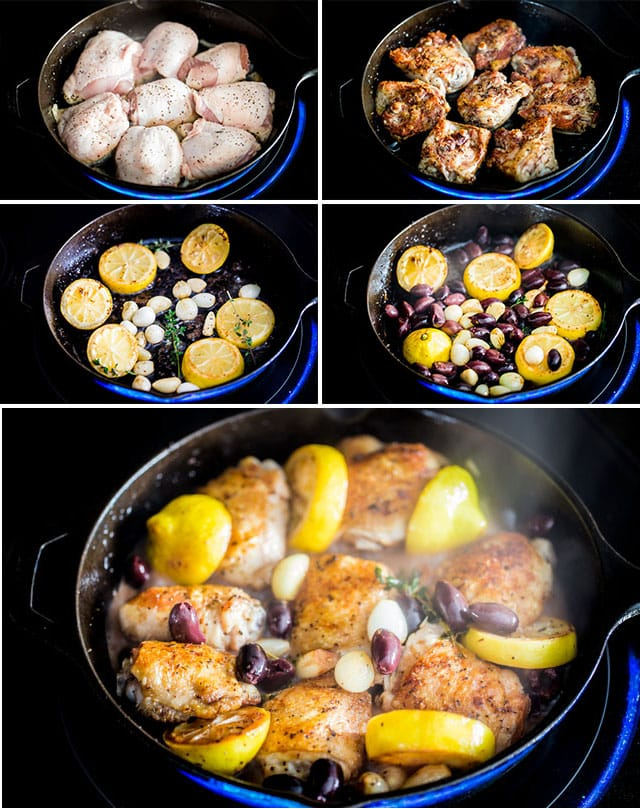 process of making Greek Chicken Thighs in a skillet