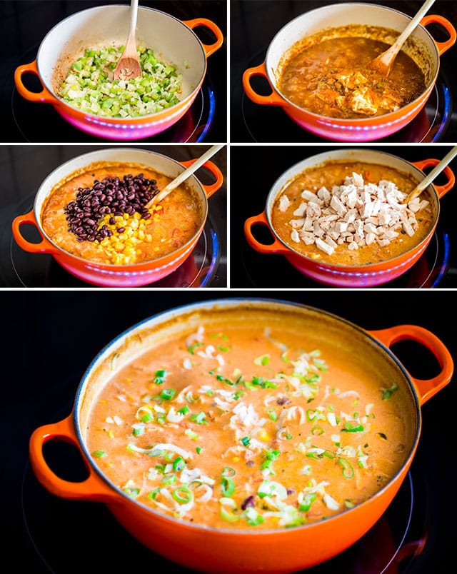 process shots of making cheesy chicken enchilada soup