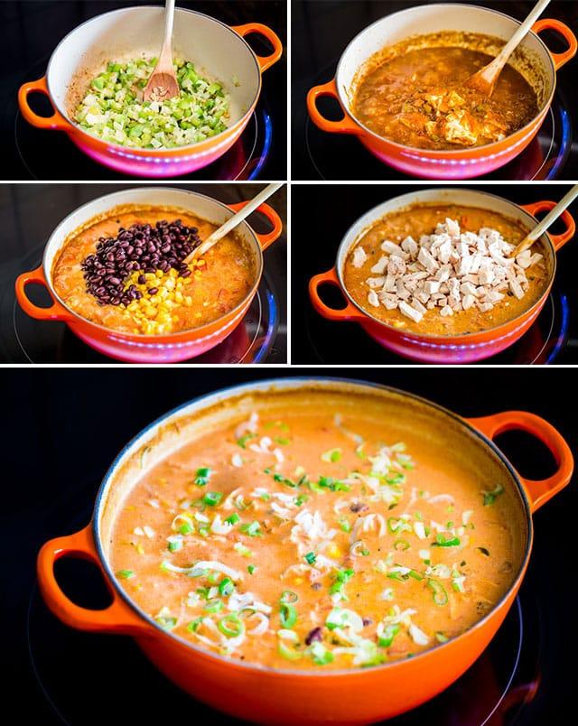 process shots of making cheesy chicken enchilada soup